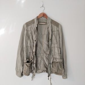 Max Studio Olive Green Embroidered Utility Jacket